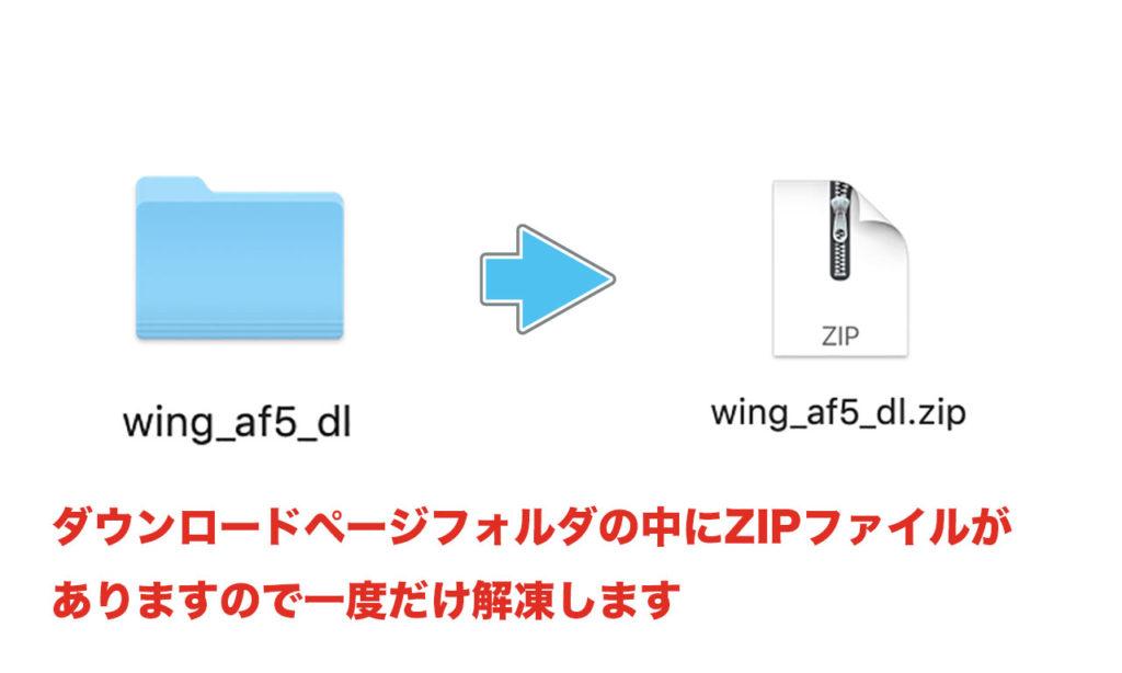 ダウンロードページの中にZIPファイルがあるので、一度だけ解凍